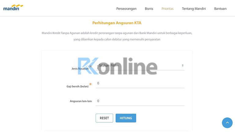 Buka Situs Simulasi KTA Bank Mandiri