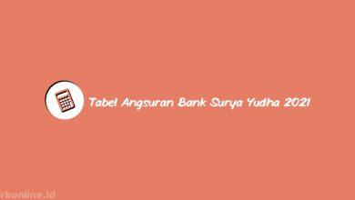 Tabel Angsuran Bank Surya Yudha 2021